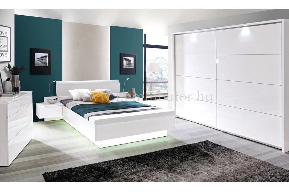 WHITE FLAG elemes hálószoba összeállítás * pl. 160x200 cm fix ágykeret éjjeliszekrényekkel *