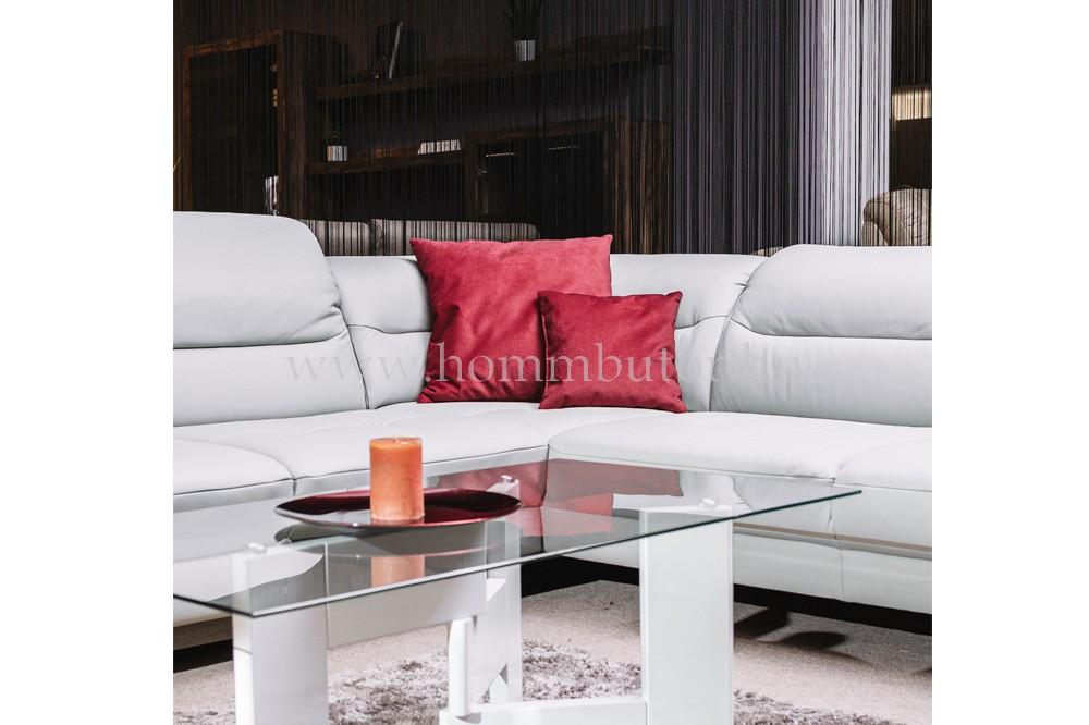 ASTRUM közepes méretű (272x226cm) L-alakú sarok ülőgarnitúra, valódi bőr, ágyazható