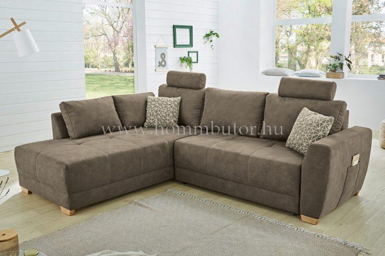 AZUR közepes méretú (255x210cm) L-alakú sarok ülőgarnitúra, ágyazható, ágyneműtárolós