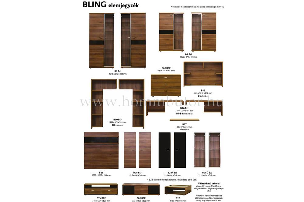 BLING polcos elem B2 vitrinhez 87x170 cm