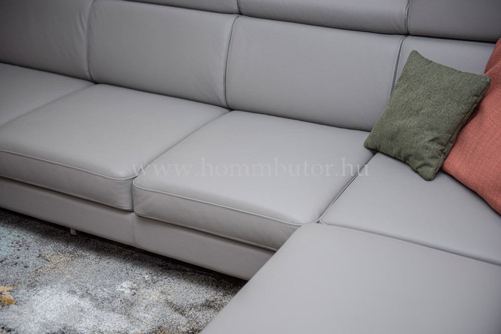 BOLOGNA nagy méretű (324x276cm) L-alakú valódi bőr sarok ülőgarnitúra, ágyazható változatban is