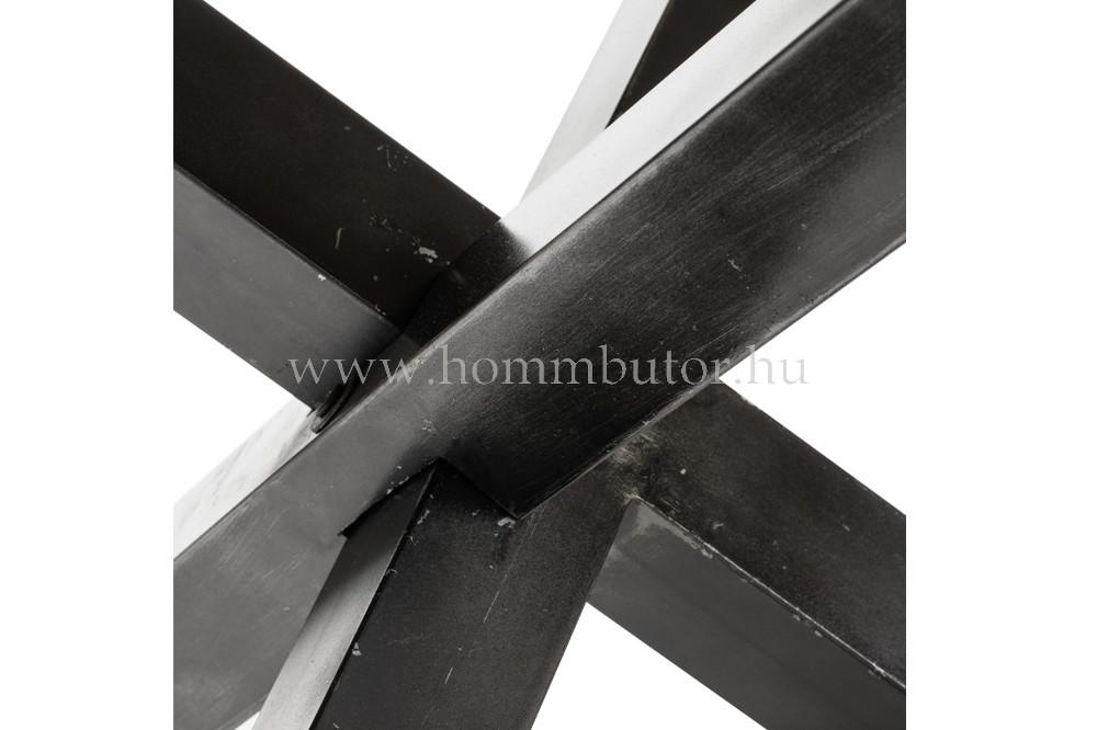 CAMEL étkezőasztal Ø130x77 cm fix valódi mangófa-fekete fém színben