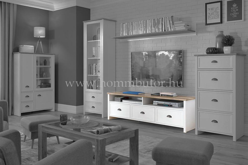 CANNET TV-állvány 3 fiókos polcos 160x51 cm