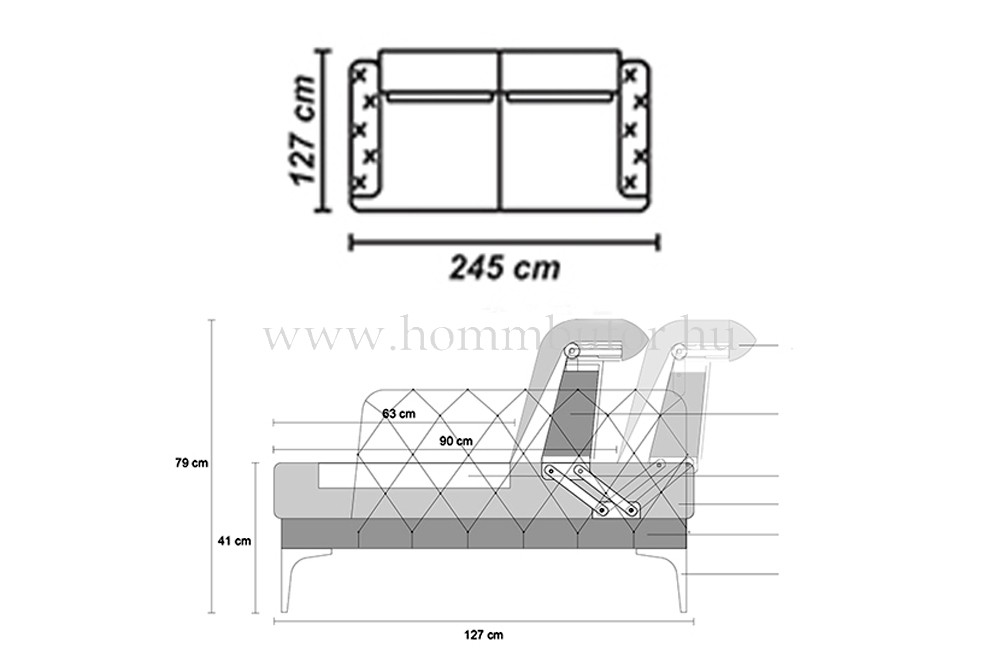 ROSETTA CHESTER 3 üléses kanapé 245x110 cm