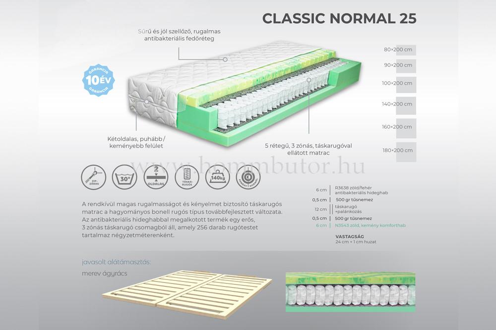 CLASSIC NORMAL 25 táskarugós matrac 100x200 cm