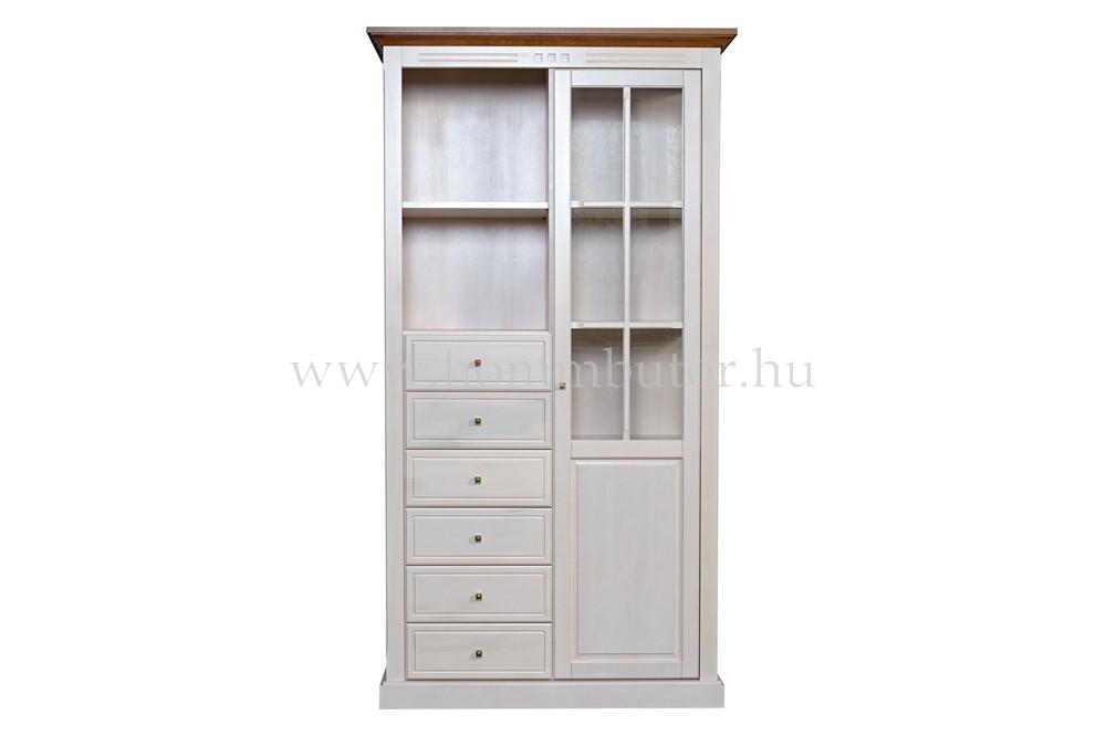 CONCERTO szekrény 6 fiókos 2 polcos 1 üvegajtós 110x205 cm