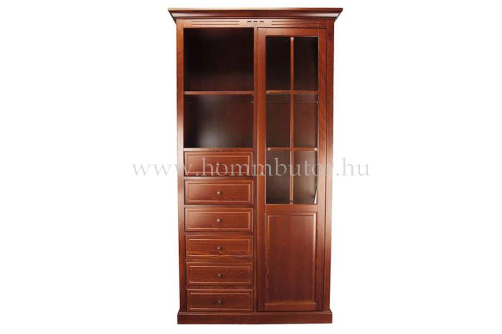 CONCERTO CASTELLO szekrény 6 fiókos 2 polcos 1 üvegajtós 110x205 cm