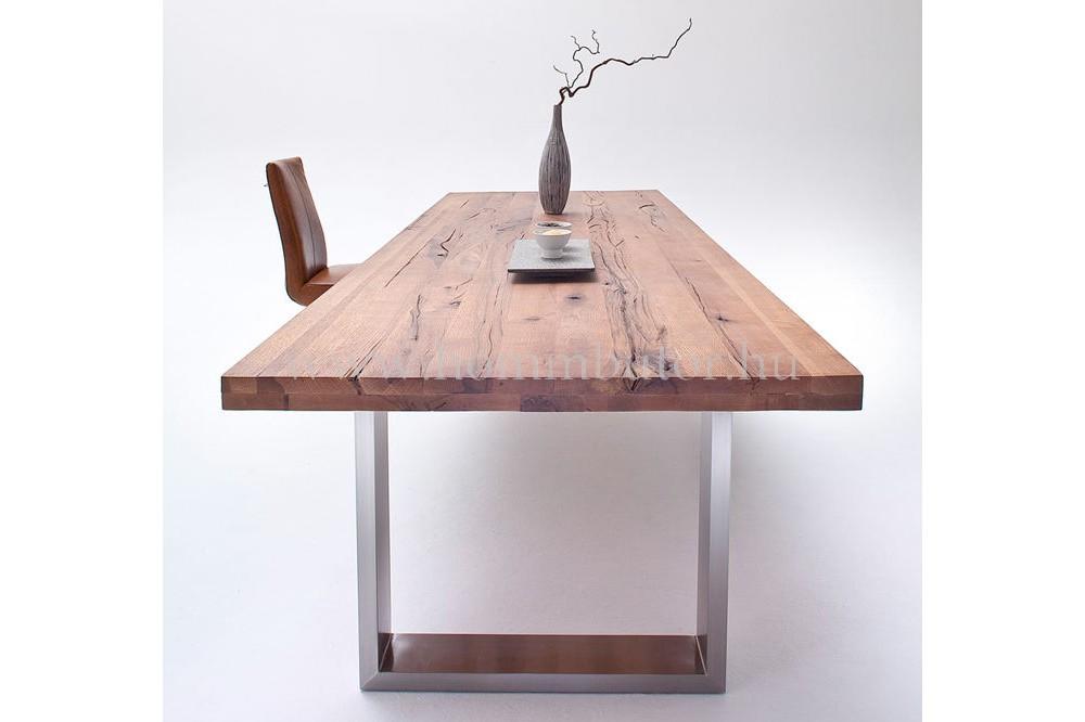 CORALLO tömör tölgy étkezőasztal fix 160-260x100 cm nemesacél lábbal
