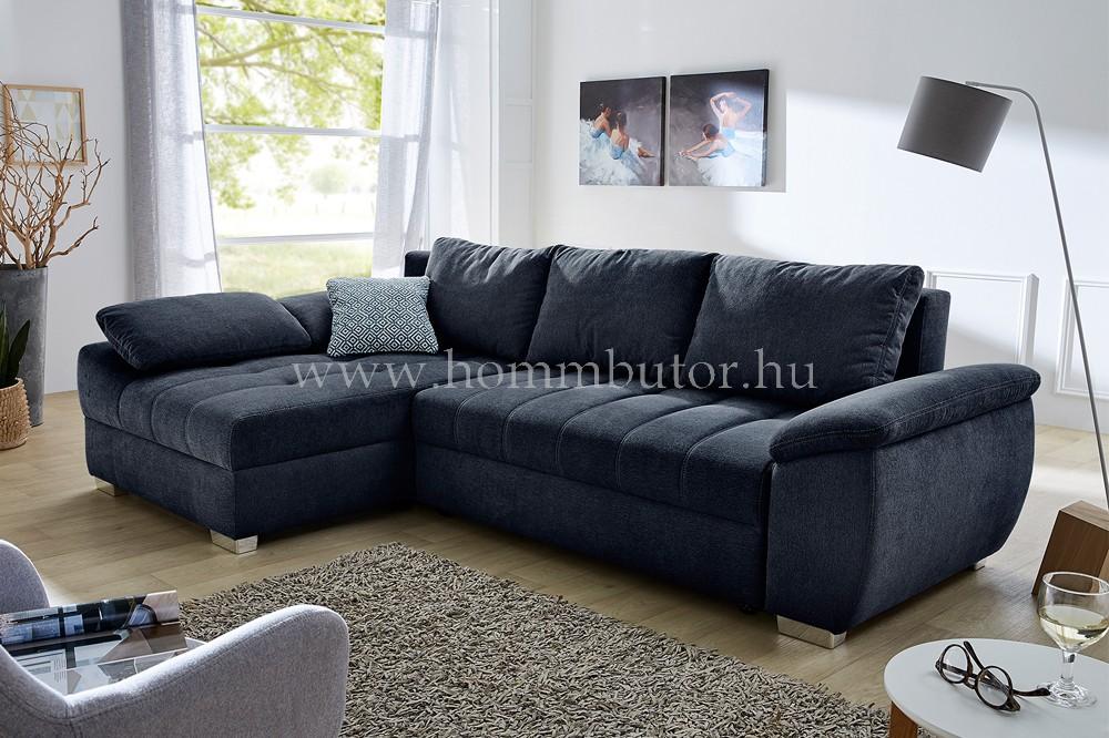 ELBA közepes méretű (265x160cm) L-alakú sarok ülőgarnitúra, ágyazható, ágyneműtárolós
