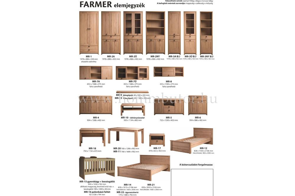 FARMER szekrény 2 ajtós 1 fiókos 58x198 cm