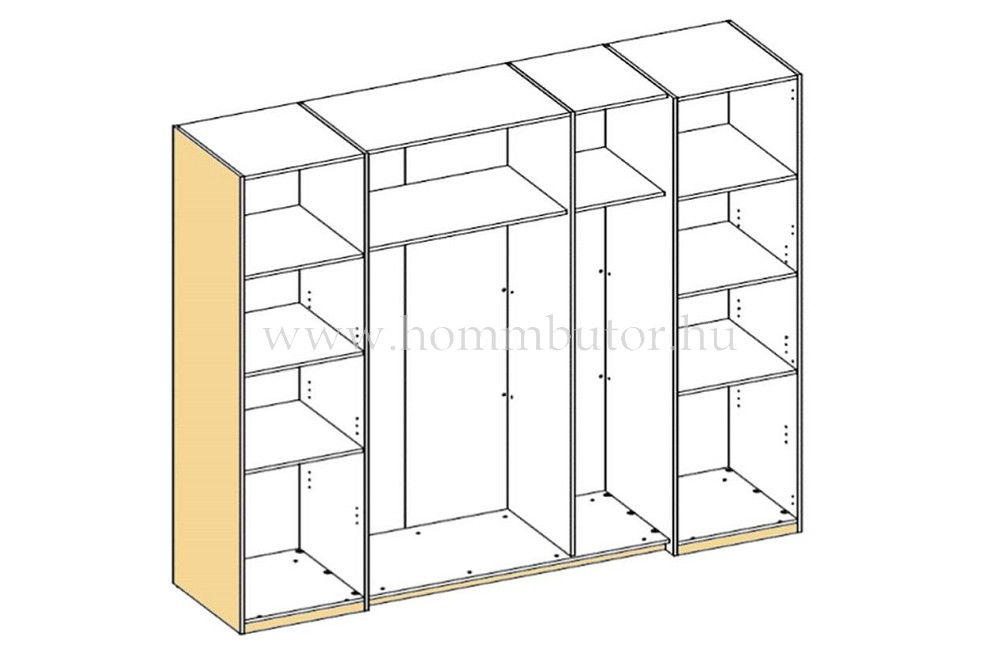 FIONA toló- és nyílóajtós gardróbszekrény 205x196 cm