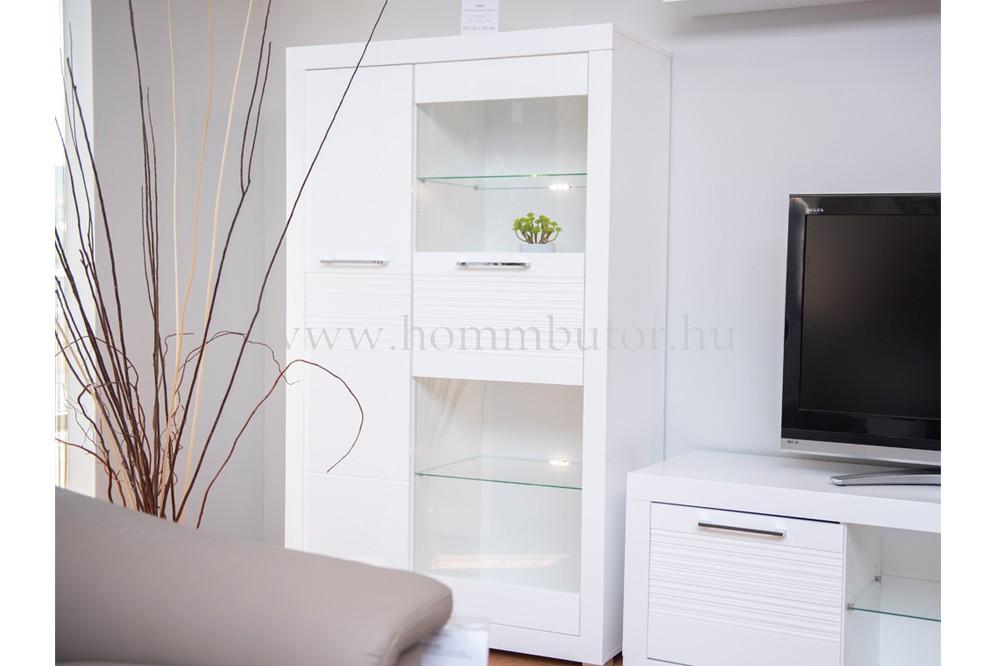 FLAMES vitrines szekrény világítással, 2 ajtós 97x161 cm