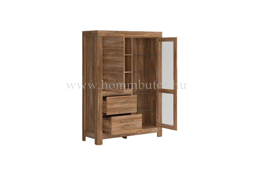 GENT vitrin 1 üvegajtós 1 ajtós 2 fiókos 115x159 cm