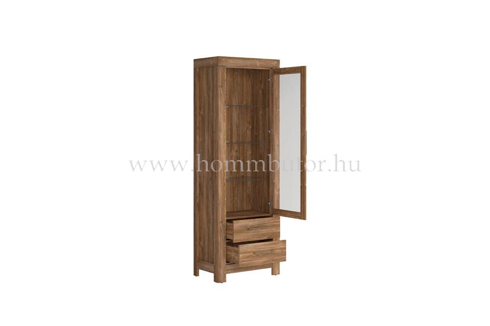 GENT vitrin 1 üvegajtós 2 fiókos 68x201 cm