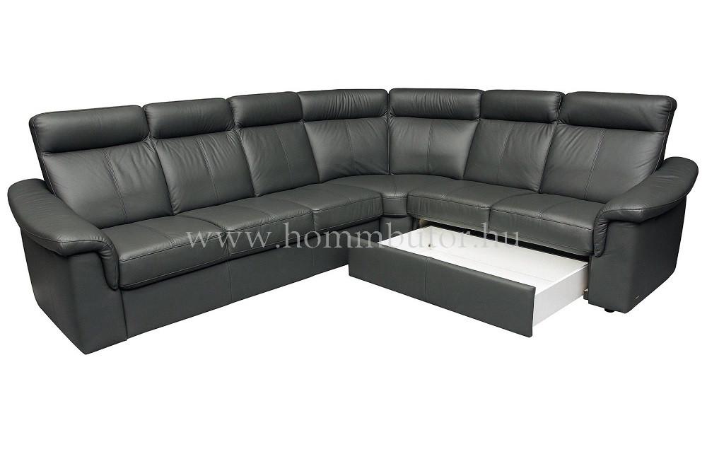 GREGORY közepes méretű (290x243cm) L-alakú sarok ülőgarnitúra, valódi bőr, ágyazható változatban is