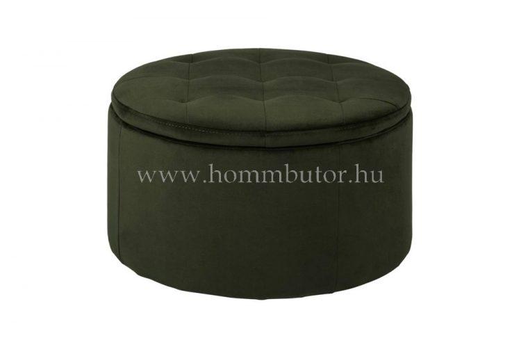 GRETA ülőke tárolóval Ø60 cm erdőzöld színben
