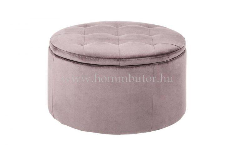 GRETA ülőke tárolóval Ø60 cm rózsaszín színben