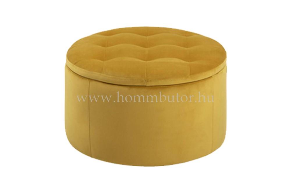 GRETA ülőke tárolóval Ø60 cm sárga színben