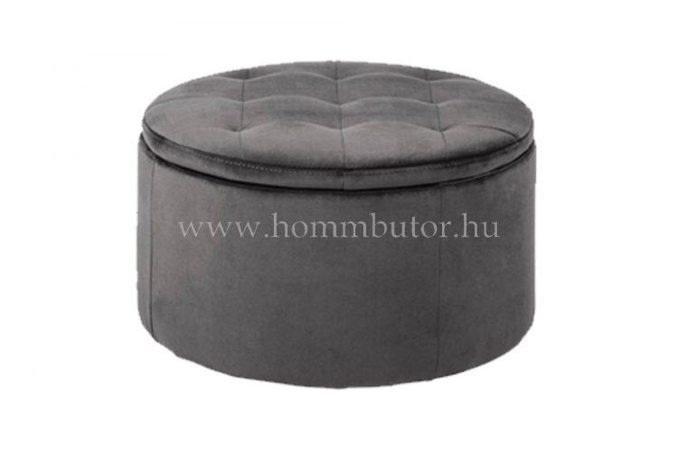 GRETA ülőke tárolóval Ø60 cm sötétszürke színben
