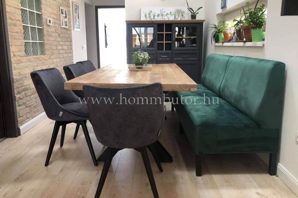 HELDEN étkezőasztal 200x100 cm fix valódi mangófa-fekete fém színben