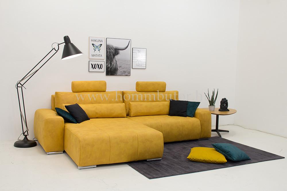 JANVIER nagy méretű (300x180cm) L-alakú sarok ülőgarnitúra, ágyazható, ágyneműtárolós