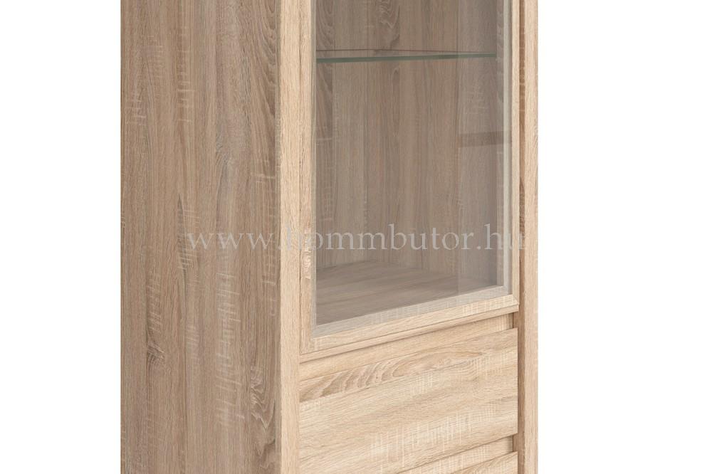 KASPIAN vitrines szekrény 1 üvegajtós 2 fiókos 56x201 cm
