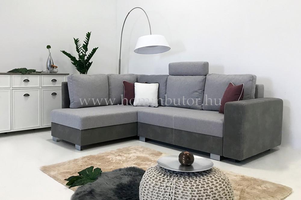 KELLY kis méretű (228x180cm) L-alakú sarok ülőgarnitúra, ágyazható, ágyneműtárolós, akár mindennapos alvásra