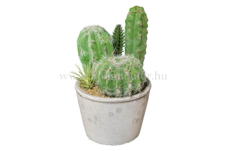 KAKTUSZ MIX élethű növény dekoráció 20 cm magas