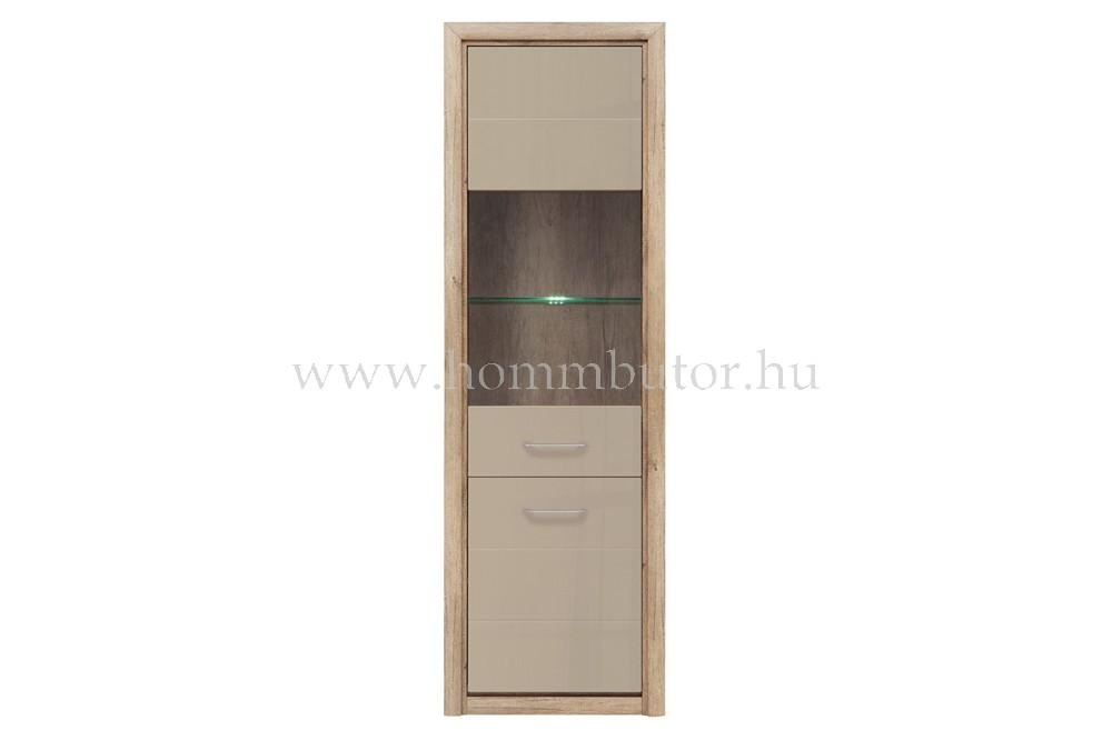 KOEN II vitrines szekrény 1 üvegajtós 1 ajtós 64x200 cm