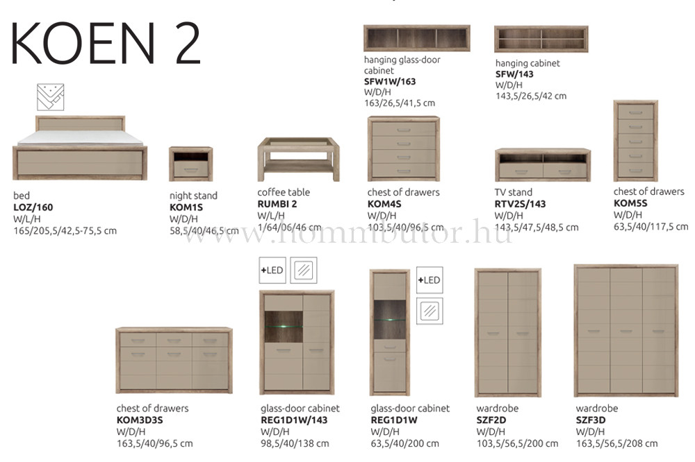 KOEN II TV-állvány 2 fiókos polcos 143x49 cm