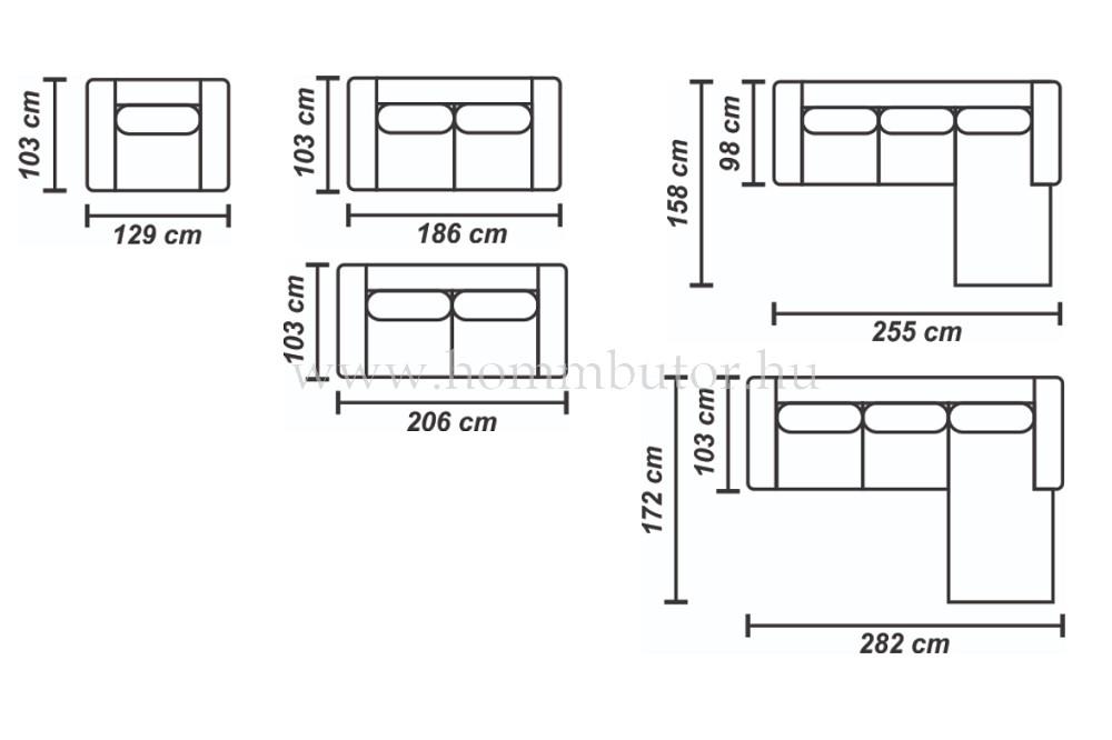 LILI kis méretű (255 x 158 cm) L-alakú sarok ülőgarnitúra ágyazható