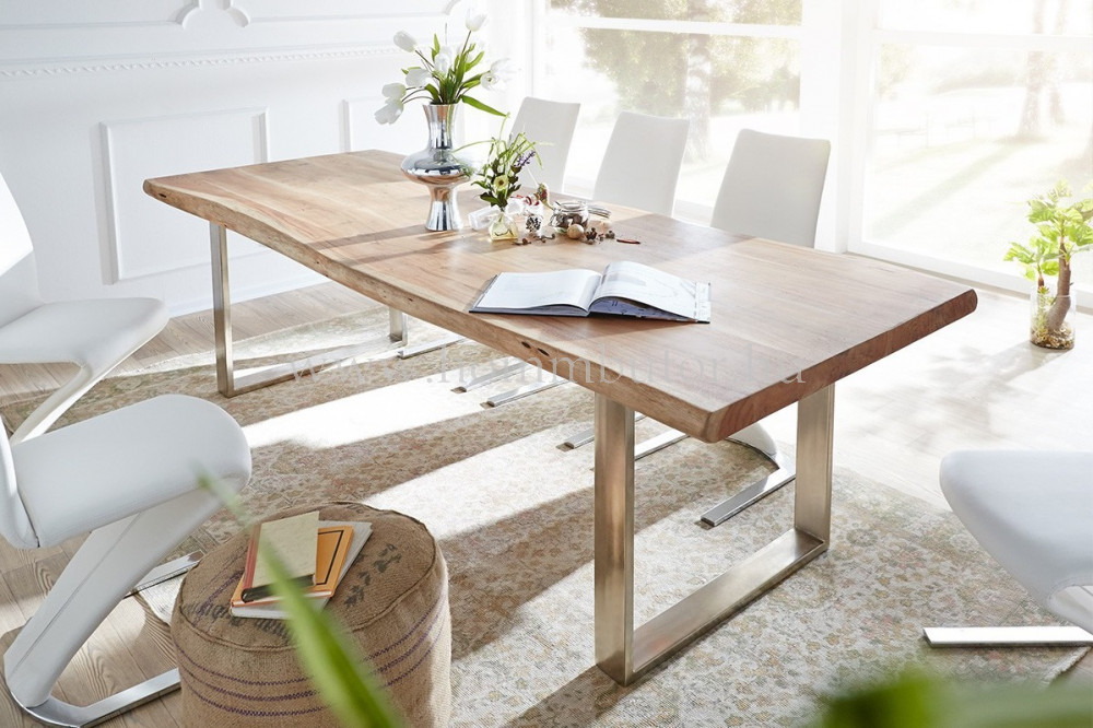 LEAVES étkezőasztal 160x92 cm fix tömör akác-fém színben