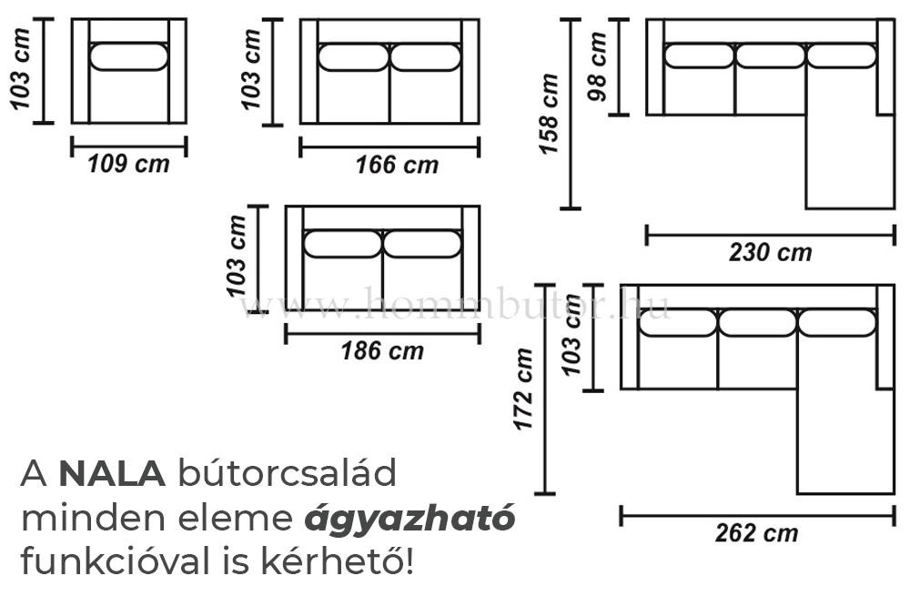NALA közepes méretű (262x172cm) L-alakú sarok ülőgarnitúra, ágyazható