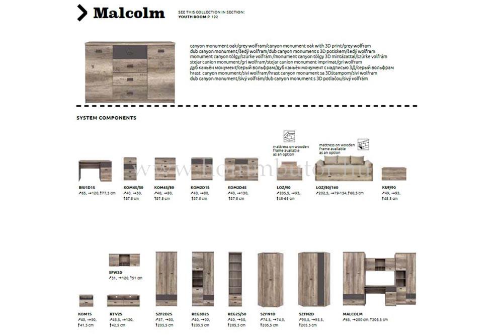 MALCOLM komód 2 ajtós 1 fiókos 80x88 cm