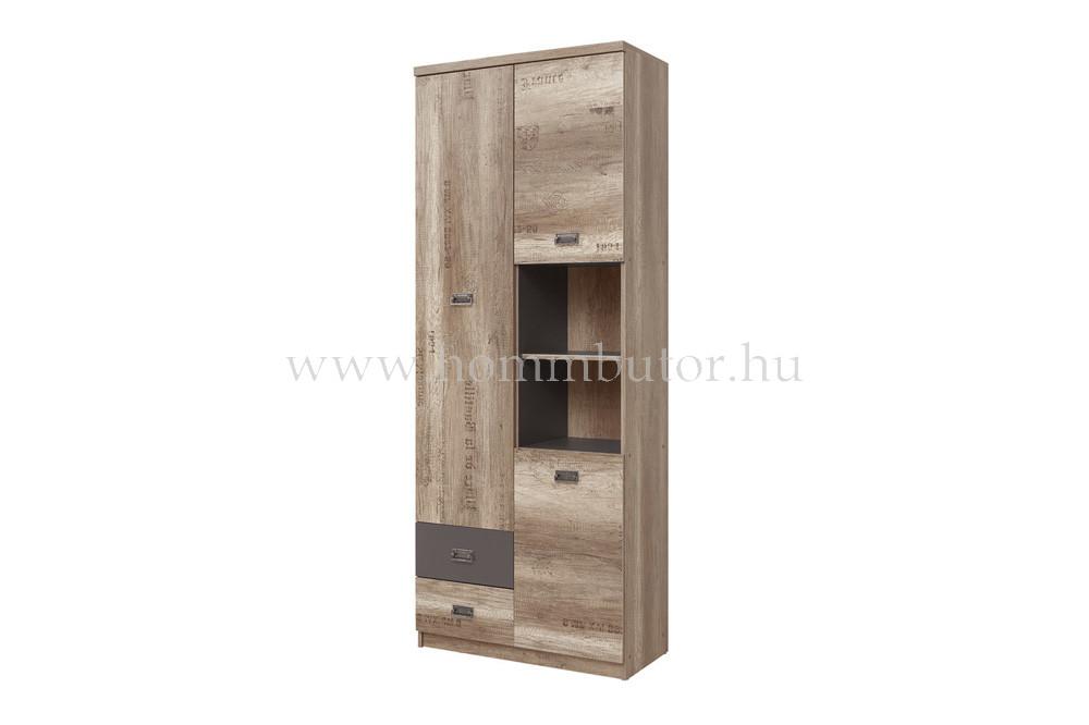 MALCOLM szekrény 3 fiókos 2 ajtós 2 polcos 80x206 cm