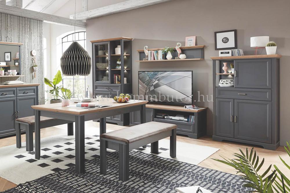 MENTA étkezőasztal 160x90 cm bővíthető kézműves tölgy-grafit színben