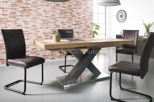MOKKA C étkezőasztal 160x90 cm bővíthető deszka tölgy-grafit színben