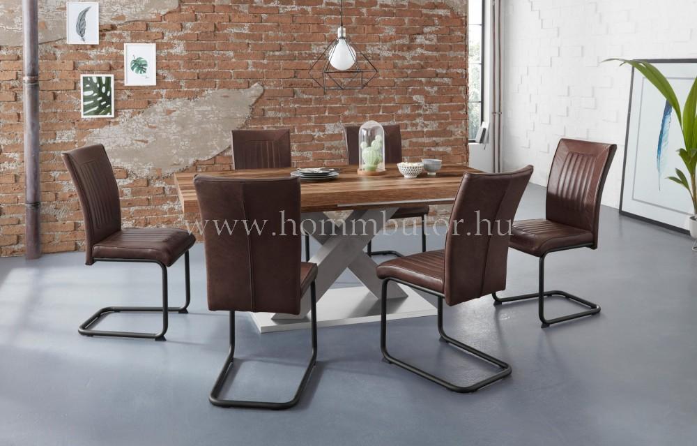 MOKKA étkezőasztal 160x90 cm bővíthető deszka tölgy-grafit színben