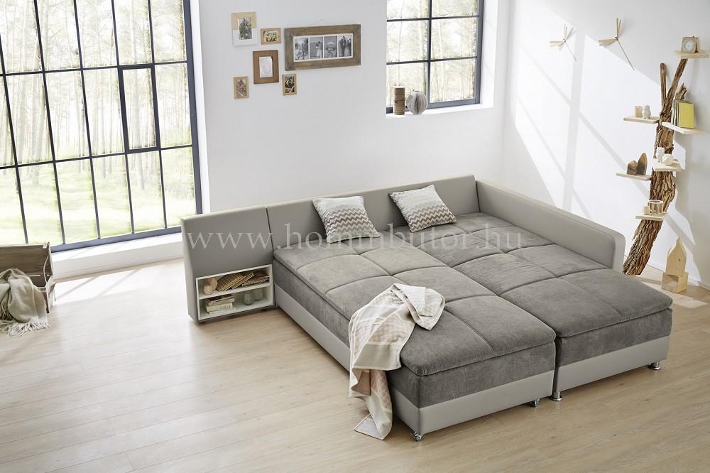 MONDAY nagy méretű (307x220cm) L-alakú sarok ülőgarnitúra, ágyazható, ágyneműtárolós, akár mindennapos alvásra