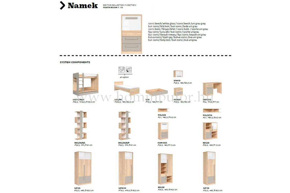 NAMEK szekrény 2 ajtós 4 polcos 95x112 cm