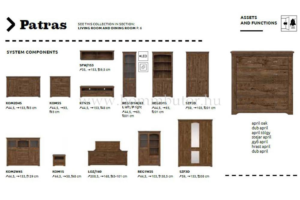 PATRAS komód 2 ajtós 4 fiókos 153x93 cm