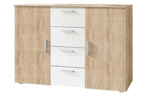 RAVEN komód 2 ajtós 4 fiókos 132x92 cm