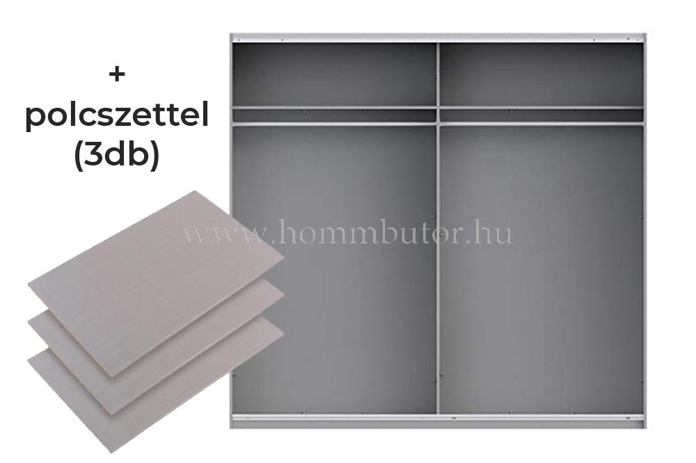 RUNNER PLUS tolóajtós gardróbszekrény 220x210 cm polcszettel