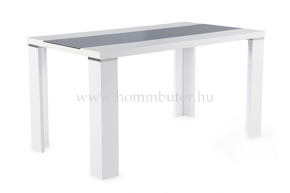 SUAREZ étkezőasztal 140x80 cm fix fényes fehér-szürke színben