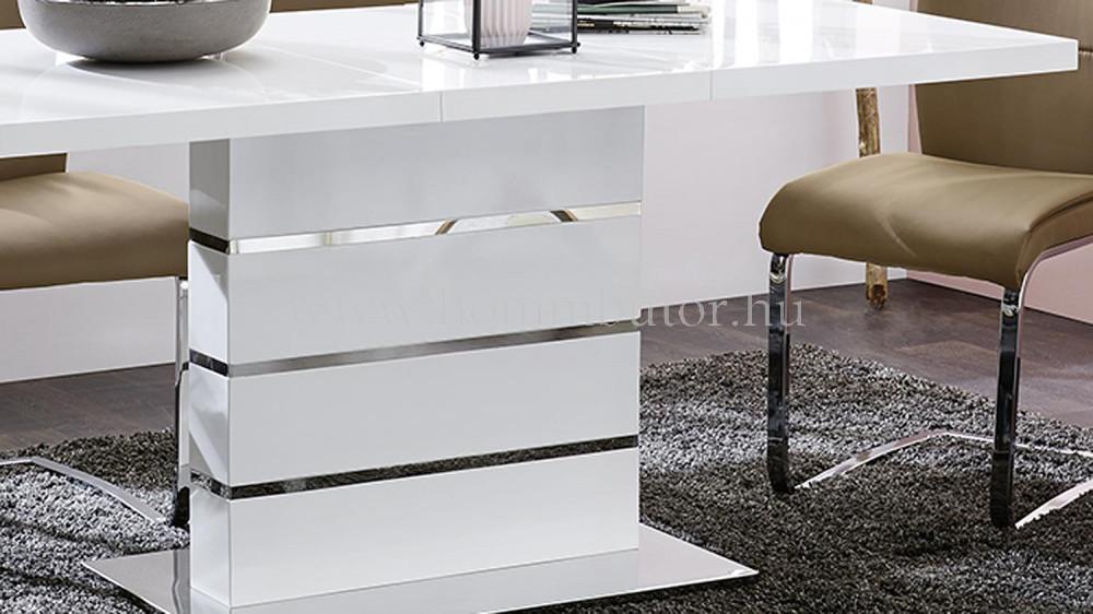 TANGO étkezőasztal 120x80 cm bővíthető magasfényű fehér