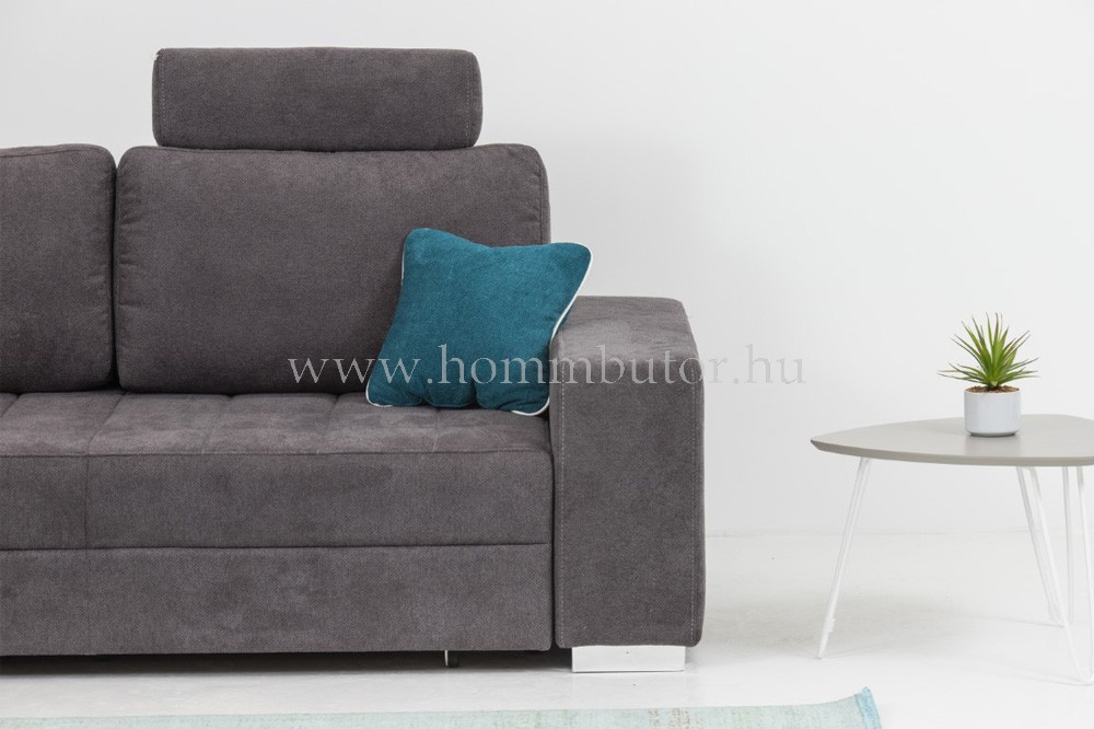 TENDER közepes méretű (270x200cm) L-alakú sarok ülőgarnitúra, ágyazható, ágyneműtárolós, akár mindennapos alvásra