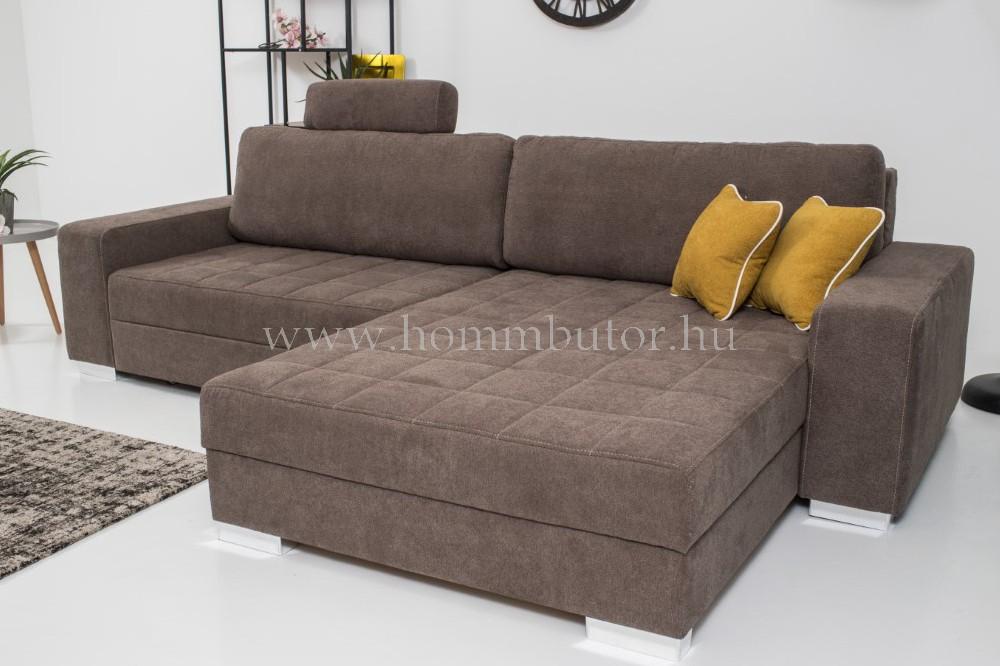 TENDER közepes méretű (290x180cm) L-alakú sarok ülőgarnitúra, ágyazható, ágyneműtárolós, akár mindennapos alvásra