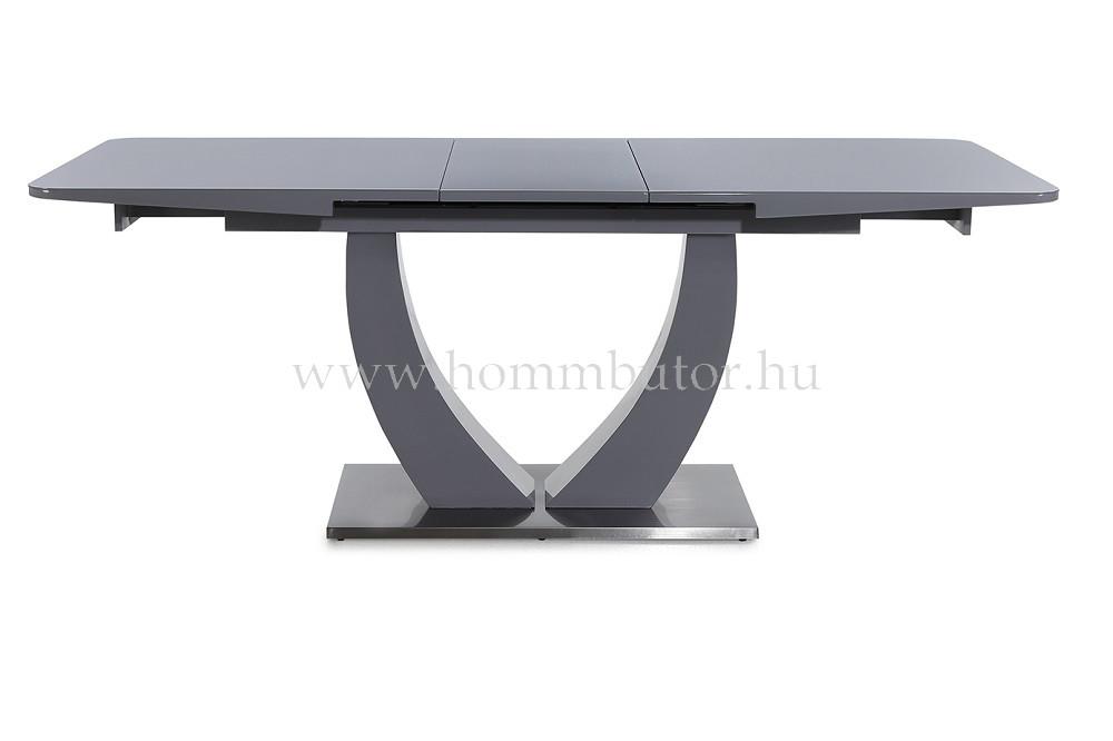 URSULA étkezőasztal 160x90 cm bővíthető magasfényű szürke - üveg