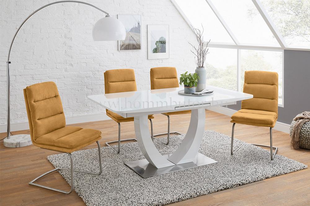 URSULA étkezőasztal 160x90 cm bővíthető magasfényű fehér - üveg