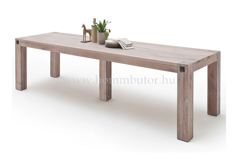 EDWARD tömör tölgy étkezőasztal 160-400x90-120 cm fix
